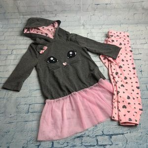 """Other - Grey with pink """"kitten"""" Outfit Sz L"""
